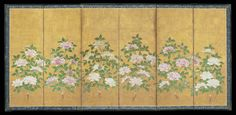 An unusual six-fold paper screen painted in ink and colour on a gold ground with six individual botan (tree peony), a plant associated with the height of summer. Unknown (18th century Edo period)