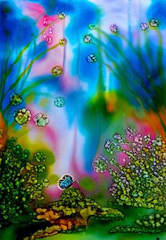 Alcohol ink painting. Butterfly Garden I