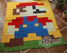 Super Mario pixel crochet blanket