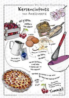 Kersen recept en wandeling een goede combinatie. Eenvoudig makkelijk en snel dit Franse kersen gebak, wat ook heerlijk als nagerecht is met bolletje vanille ijs. Kijk voor het recept en de kersen wandeling op mijn blog! Graag maak ik ook een illustratie van jouw recept!