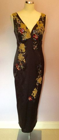 e4240855fe0 PLANET BLACK SATIN EMBROIDERED EVENING DRESS SIZE 12 - Whispers Dress Agency  - Womens Dresses -