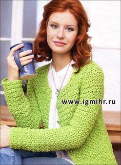 Модная классика. Жакет светло-зеленого цвета из мягкой пряжи. Крючок - chaqueta verde a <i>учимся</i> ganchillo 40/42 (44) 46/48