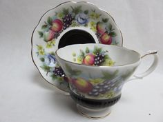Royal Albert Country Fayre Series Kent Cup Saucer Black with Fruit Flowers   eBay