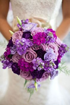 Purples and lavendar / lilac wedding flower bouquet, bridal bouquet, wedding flowers, add pic source on comment and we will update it. www.myfloweraffair.com can create this beautiful wedding flower look. #beautifulflowersbouquet Floral Wreath, Wedding Flowers, Ideas, Floral Crown, Garlands, Wedding Ceremony Flowers, Flower Crown, Garland