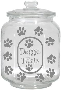 Housewares International Extra Large Clear Glass Dog Treats Jar with Glass Lid, Round, Saying Doggie Treats Large Glass Jars, Clear Glass, Vinyl Projects, Diy Projects To Try, Mason Jar Crafts, Mason Jars, Glass Etching, Etched Glass, Extra Large Dog House