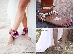 Sandálias para pés descalços - casamento na praia