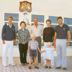 The Royal Family on board HMY Britannia, 1983 | Royal Collection Trust Photograph of the Royal Family on board Britannia. Left to right: Prince Edward (b. 1964), later the Earl of Wessex; HM The Queen (b. 1926); HRH Prince Philip (b. 1921); HRH Princess Anne (b. 1950), later Princess Royal; HRH Prince Andrew (b. 1960), later the Duke of York; Peter Phillips (b. 1977) and Zara Phillips (b. 1981) .