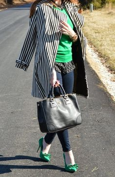 Woman's fashion /Emerald and black and white polka dots!