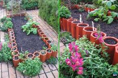 DIY Terracotta Pipes Garden Edging - 20 Creative Garden Bed Edging Ideas Projects Instructions