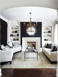Living Room with Black Walls - Contemporary - living room - Laura Hay Decor Design Black And White Living Room, Room Design, Interior Design, House Interior, White Fireplace, Home, Formal Living Rooms, Livingroom Layout, Black Walls