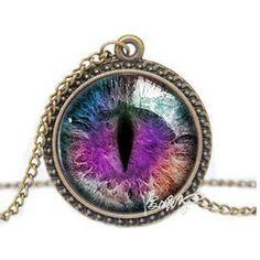 Vintage Jewelry Blue Green Cat Eye Necklace Pendant Fashion Charming Rhinestone Ethnic Necklace for Men Women