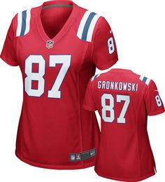 Rob Gronkowski Women's Jersey: Alternate Red Throwback Game Replica #87 Nike New England Patriots Women's Jersey