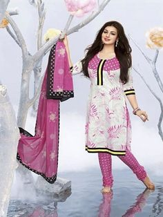 Get yourself a trendy and stylish look with this snazzy light Blue color straight cut salwar kameez. This unstitched cotton salwar suit is elegantly beautified with fancy embroidery and border that gives a pleasant and adorable look to the wearer. The suit comes along with matching santoon bottom and dark pink dupatta