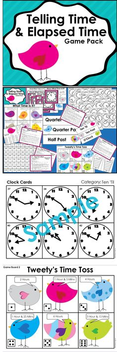 This package contains 3 Telling Time and 2 Elapsed Time Games, 72 Clock Cards, and 6 Teaching Posters. $