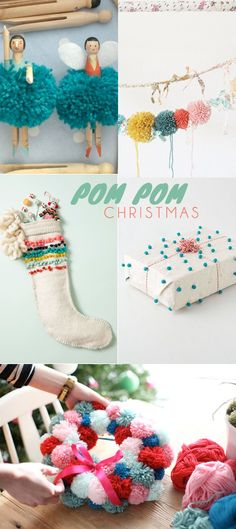 Festive crafts using pom poms  #diy