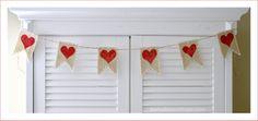 valentines day burlap craft idea | Valentine's Day Banner in Burlap {a tutorial} - Fox Hollow Cottage