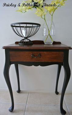 Bon Chalk Painted Queen Anne Tables | Queen Anne Table   Legs Painted Black.  Going To Do This On My Living .
