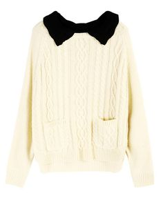 Beige Cable Knitted Jumper with Contrast Crocheted Collar
