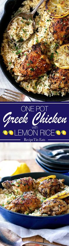 Pot Greek Chicken & Lemon Rice This Greek Chicken Recipe is made with an incredible lemon rice which is all made in ONE POT! This Greek Chicken Recipe is made with an incredible lemon rice which is all made in ONE POT! Greek Chicken Recipes, Greek Recipes, Recipe Chicken, Baked Greek Chicken, Indian Recipes, Greek Dishes, Rice Dishes, Main Dishes, Cooking Recipes