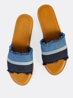 Online shopping for Open Toe Lined Slide Sandals BLACK from a great selection of women's fashion clothing & more at MakeMeChic. Denim Sandals, Denim Shoes, Blue Sandals, Women's Shoes Sandals, Peep Toe Shoes, Slip On Shoes, Low Block Heel Sandal, Painted Canvas Shoes, Blue Denim