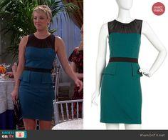 Penny's teal peplum dress on The Big Bang Theory.  Outfit Details: http://wornontv.net/40774/ #TheBigBangTheory / 'Gabby' Dress by Cynthia Steffe