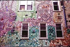 Philadelphia, South Street  - Isaiah Zagar, a local artist who began tiling South Street in the 1960s and never stopped, constructed the space out of cement, bicycle spokes, bottles, ceramic shards and other artistic knick-knacks.He has created more than 100 mosaics along South Street....they are amazing to see in real life