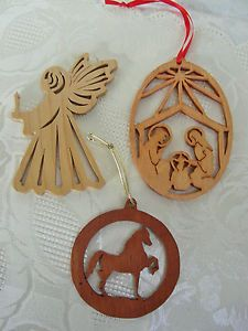 Lot 3 Scroll Saw Wooden Christmas Tree Ornaments: Nativity Scene, Angel, Horse