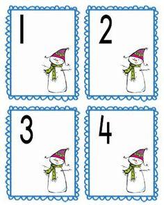 Cijferkaartjes 1 t/m 20. Tip: laat de kleuters er wattenschijfjes bij leggen als sneeuwballen. Winter kleuters   Thema, Lesidee Juf Anke