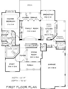 First Floor Plan of Craftsman   Traditional   House Plan 58238