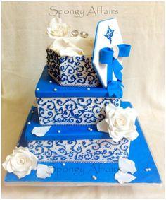 White and Blue Engagement Cake - Cake by Meenakshi Jamadagni - CakesDecor