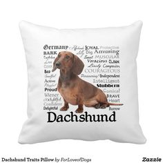 8fd9ec77bb996 Dachshund Traits Pillow Personalized Birthday Gifts, Personalized Pillows,  Dachshund Gifts, Dog Gifts,