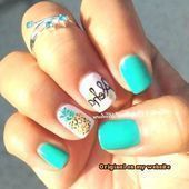 Nail Art Summer 2019 I like the teal with just the pineapple nail. Into pineap# Pineapple Nails, Watermelon Nails, Shellac, Feast Of Love, Summer Nails Almond, Oil Free Foundation, Beach Nails, Finger, Nail Art