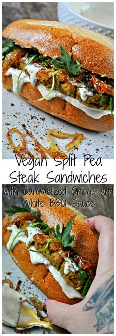 These vegan steak sandwiches are to die for. Easy vegan steak made from split peas, topped with caramelized onions and white BBQ sauce!