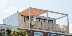 Moderne dakopbouw met pergola en dakterras. Rooftop Terrace, Patio Design, Bathroom Interior, Decoration, Home Remodeling, House Plans, Pergola, Sweet Home, New Homes