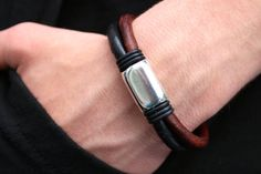 Mens Bracelet, Boyfriend Gift, Leather Anniversary, Mens Leather Bracelet, Husband Gift, Gift for Him, Canadian Jewelry, Black and Brown PPP
