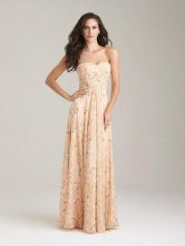 Allure 1491 Long Pastel Floral Bridesmaid Dress - French Novelty