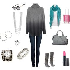 love the gradual greys in the sweater. winter ......... #polyvore #fashion #women #style