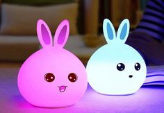Rechargeable Colourful Rabbit Night-Light with Remote - Two Colours Available