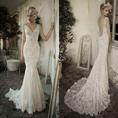 Luxury Sexy V-neck Backless Wedding Dress Mermaid Lace Bridal Gown Custom Size Backless Mermaid Wedding Dresses, Ivory Lace Wedding Dress, Open Back Wedding Dress, Wedding Dresses 2014, Backless Wedding, Mermaid Dresses, Bridal Lace, Bridal Dresses, Wedding Gowns