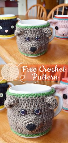 Easy Crochet Patterns Animal Mug Cosies [CROCHET FREE PATTERNS] – All About Crochet See other ideas and pictures from the category menu…. Crochet Coffee Cozy, Crochet Cozy, Crochet Beanie, Crochet Gifts, Cute Crochet, Easy Crochet, Crochet Stitches Patterns, Crochet Patterns For Beginners, Crochet Designs