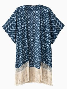 Love this! Denim Blue Geometric Pattern Kimono With Fringe Tassels