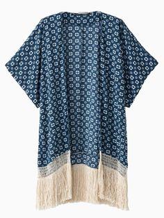 Chaqueta Estilo Kimono Con Patrón Geométrico Con Borlas En Azul | Choies