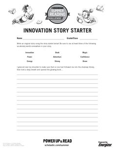 Innovation Story Starter Printable | Summer Reading Challenge 2015. Kids can write their own story by completing this fun story starter! #summerreading