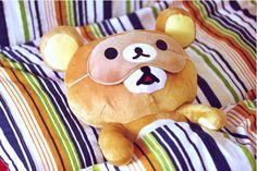 teddy bear wearing a teddy bear eyemask