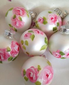 Hp shabby cottage roses balls ornaments by pinkrelish