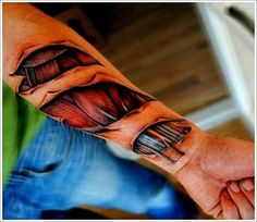 - Venezuelan tattoo artist Yomico Moreno has created some of the most realistic flesh torn tattoos one may ever see. The tattoos are quite graphic an. Biomechanical Arm Tattoo, Biomech Tattoo, Cyborg Tattoo, Skin Tear Tattoo, Ripped Skin Tattoo, Flesh Tattoo, Deep Tattoo, Armor Tattoo, Norse Tattoo