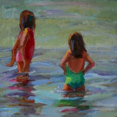 Daily Paintings By Elizabeth Blaylock, American Impressionist: SISTERS IN THE GENTLE SURF
