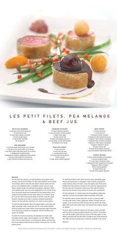 Celebrity Cruise Lines Recipe for Les Petit Filets, Pea Melange & Beef Jus #recipe.