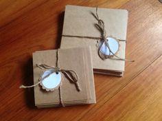 Blank Kraft cardstock cards with envelopes, mini cards, square cards, set of 10 cards and 10 envelopes,gift pack, 2 sizes, by PinkyPromiseBargains on Etsy