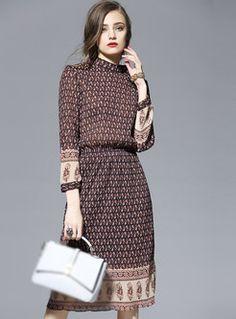 Long Sleeve Print Skinny Dress